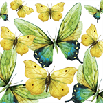 4 Paper Napkins - High Quality 3 PLY for Decoupage - Yellow Butterflies