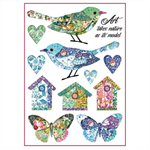 Rice Paper - Decoupage - 1 x A4 Size Sheet - Birds & Houses