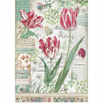 Rice Paper - Decoupage - 1 x A4 Size Sheet - Red Tulips