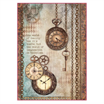 Rice Paper - Decoupage - 1 x A4 Size Sheet - Hanging Clocks