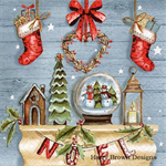 4 Paper Napkins - High Quality 3 PLY for Decoupage - Rustic Christmas