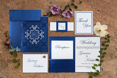 Beautiful Cobalt Blue Hindu Wedding Cards