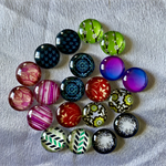 20 Glass Flower Cabochons 12mm