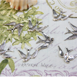 10 Sparrow Flying Bird birds Pendant Charm