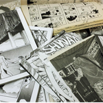Manga Anime Ephemera comic pages for craft and paper projects, black and white