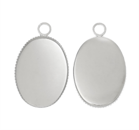 50 Oval (fits 18 x 13mm) Antique Silver Pendant Trays