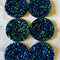 6Resin. 30mm Sparkling Druzy Cabochons -Sapphire Blue