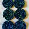 6Resin. 30mm Sparkling Druzy Cabochons -Sapphire Blue