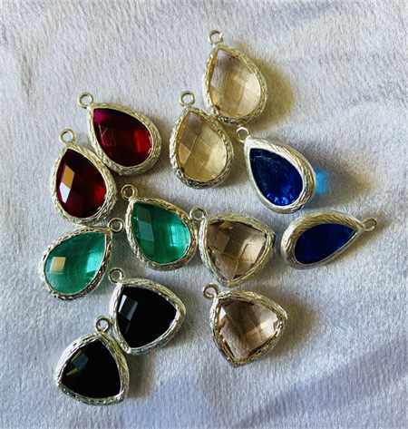 12 Faceted Coloured Glass Charms Silver Trim