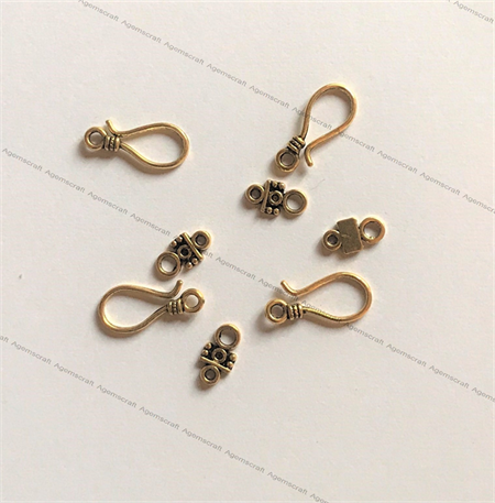 Gold Tone  Large S Hook and eye bar Clasp,Toggle Clasp  24x11mm, 8pcs