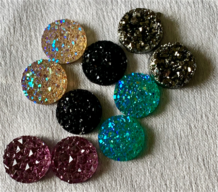 10 Resin 12mm Sparkling Druzy Cabochons 5 Colours