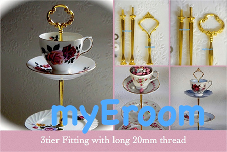 5 x 3 tier Cake Plate Stand Fitting with longer 20mm thread cup & saucer top DIY