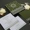 GREEN MATTE SCREEN PRINTED WEDDING INVITATION