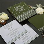 GREEN MATTE SCREEN PRINTED WEDDING INVITATION