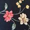 Linen Fabric - Black Background + Flowers