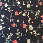 Linen Fabric - Black Background + Flowers