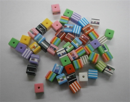 Bulk Buy Bag 150 count Multi coloured Cube Bead approx 8mm