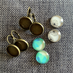4 Round16mm Imaged glass cabs and Antique Bronze findings