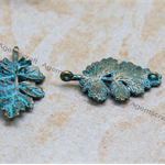 2x Brass w patina Leaf Pendant Charm connector, 2 loops