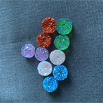 10 Resin 12mm Sparkling Druzy Cabochons 8 Colours