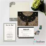 BLACK HANDMADE COTTON EMBOSSED WEDDING CARD