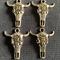 4 Silver Santa Fe Skulls