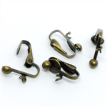 Bronze clip earring blanks with jump ring (10prs)