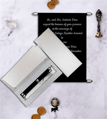 BLACK VELVET SCROLL WEDDING CARD