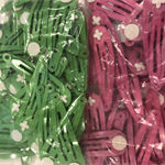 100 hair clips with glue pad -mixed colours