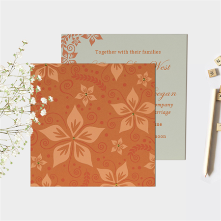 ORANGE MATTE FLORAL THEMED - SCREEN PRINTED WEDDING INVITATION