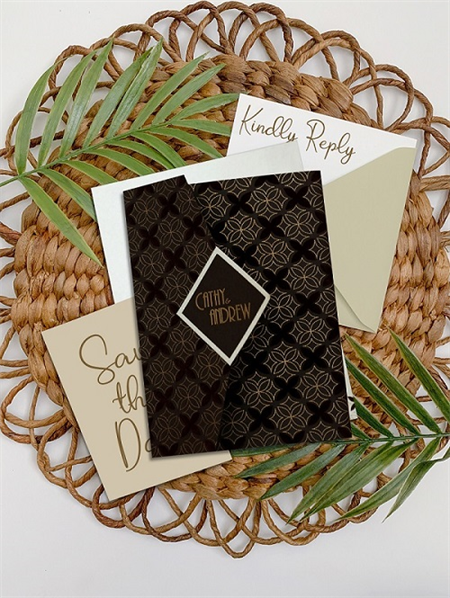 BROWN MATTE SCREEN PRINTED WEDDING INVITATION