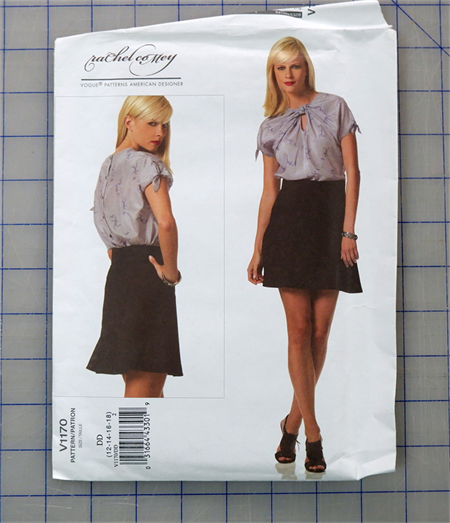 Vogue V1170 uncut pattern for top and skirt. Sizes 12 - 18