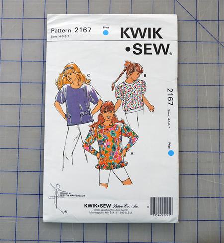 Kwik Sew 2167 uncut pattern for a girls top. Sizes 4 - 7