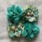 4 Chiffon Rhinestone & Pearl Peonie Flowers - Jade and Floral