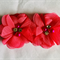 2 Chiffon Rhinestone & Pearl Peonie Flowers - Pink