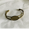 5 Antique Bronze Cuff Bangles with Oval Inlay