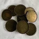 12 Antique Bronze Pendant Trays Settings 30mm.