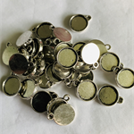 50  Antique Silver Pendant Trays Settings 10mm.