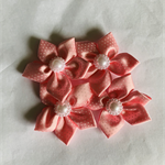 4 Pink with White Polka Dot Satin Ribbon Flowers
