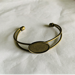 5 Antique Bronze Cuff Bangles with Oval Inlay Suited for resin