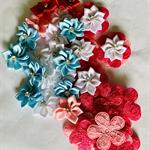 18 Satin Ribbon Flowers, 18 Lace Flowers 3 Pre made Flowers-Destash