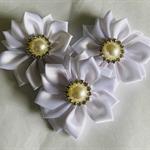 3 White Satin Ribbon Flowers