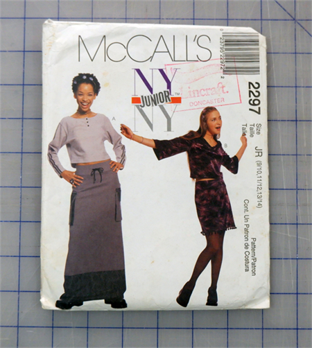McCalls 2297 Junior NY top and skirt uncut pattern. Sizes 9/10, 11/12. 13/14