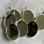 8 Oval Silver Pendant Trays Settings 18x 25mm.