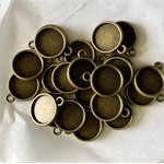 20 Antique Bronze Pendant Double Sided Trays Settings 12mm.