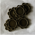 6 Antique Bronze Pendant Trays Settings 12mm.
