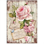 Rice Paper - Decoupage -  1 x A4 Size Sheet - Sweet Time Rose