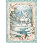 Rice Paper - Decoupage -  1 x A4 Size Sheet - Winter Unicorn