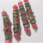 Red/green Designer Beads Boho Gypsy Wire wrapped paper/fabric/red beads