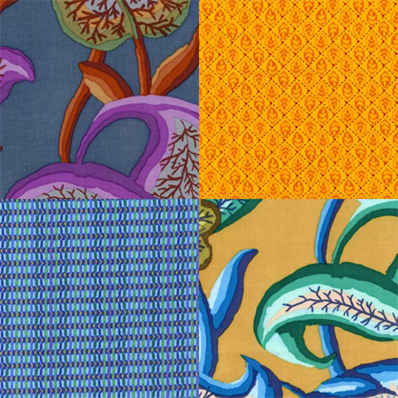 Kaffe Fassett with Basket Stripe and Provincial Countryside   4 Fat Quarters